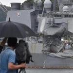 A TV crew filmed the damage to the guided missile destroyer USS Fitzgerald on Saturday.